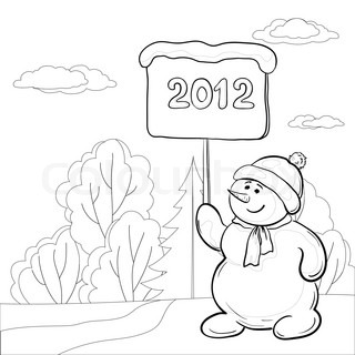 Christmas cartoon, contours: snowmen boy with the poster with the inscription 2012 in the winter forest
