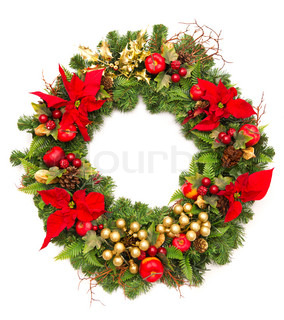 christmas wreath with golden decoration and poinsettia flowers