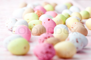 Close-up of pastel colored chocolate Easter egg candy