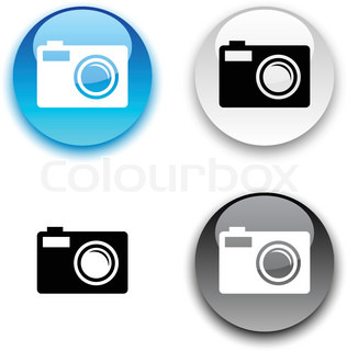 Photo glossy round vector buttons