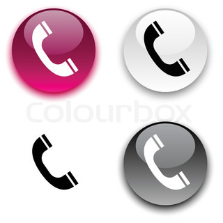 Telephone glossy round vector buttons