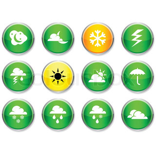 Weather set of round glossy icons