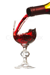 Pouring a glass of wine Image is isolated over white background