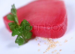 Fresh good tuna meat at white background