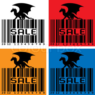 Stylized Sale-Barcode with black Dragon - symbol 2012 year