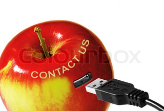 Contact us sign on red apple