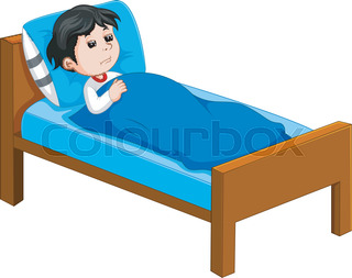 Outlined sick kid lying in bed vector illustration coloring page sick kid lying in bed altavistaventures Images