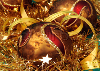Christmas baubles and balls in detail