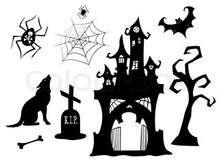 Set of halloween silhouettes Black isolated on white Vector illustration