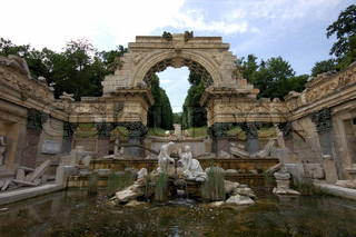 Roman Ruins in the Garden of Schonbrunn Palace in Vienna, Austria