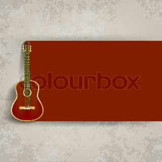 abstract grunge background with brown acoustic guitar