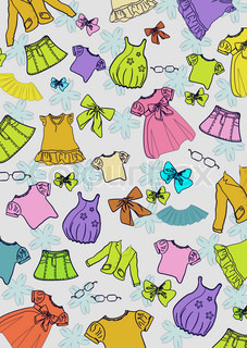Different colored child`s clothes background