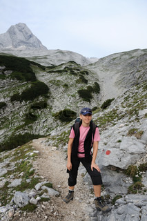 Female hiker in the alps