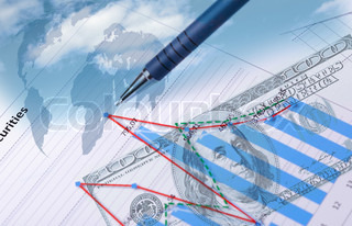 Collage of financial and business charts and graphs