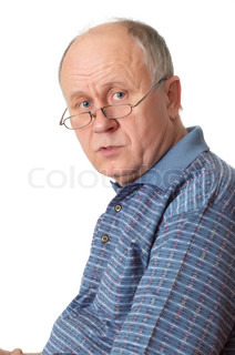 Bald senior man with glasses. Emotional portraits series. Isolated on white.