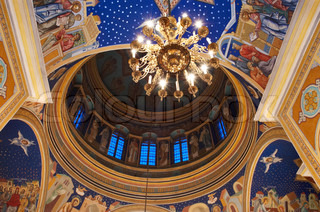 fresco inside of dome in orthodox christian cathedral church