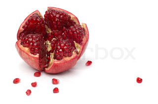 broken pomegranate and seeds