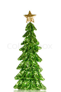 Christmas tree decoration made out of green and golden sequins on white reflective background