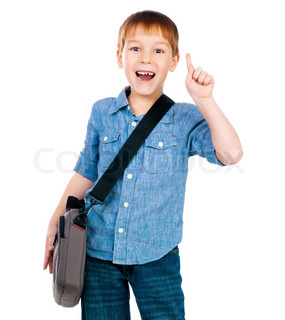 little boy with bag on white background