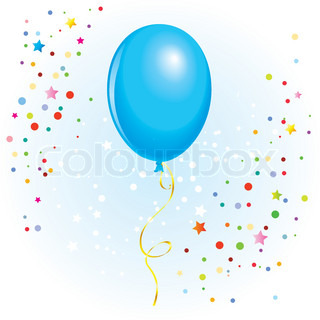 Azure balloon with dangling curly ribbon in vector format