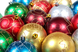 Multi-coloured christmas ornaments close up