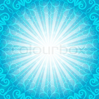 Christmas blue frame with rays and vintage pattern vector EPS 10