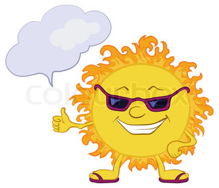 Smiling sun with black glasses and a cloud for your text