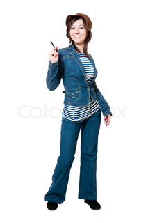 Beauty women in jeans suit isolated on white background