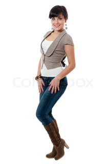 Women in jacket and jeans isolated on white background