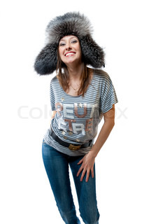 Women in striped vest and jeans isolated on white background