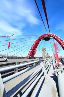 Modern suspension bridge. Moscow. Russia Zhivopisny bridge
