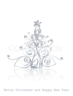 Handmade Christmas tree cut out from office paper Quilling art