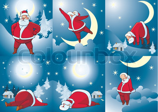 Set of comic pictures about Santa Klausa Celebratory cards