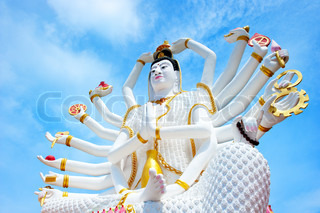Statue of 7 hands Shiva in Thailand