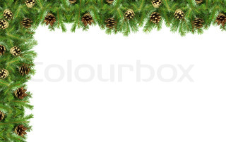 Christmas greenframework isolated on white background