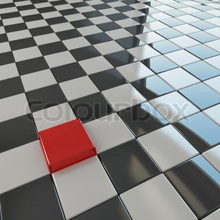 Outstanding red cube among black and white flat cubes