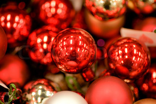 Shiny red christmas baubles decoration