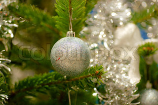 Christmas ball hanging on the tree
