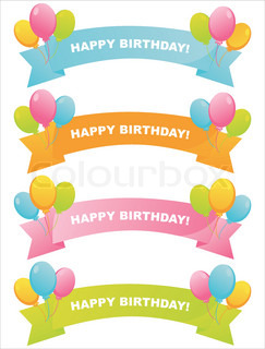 set of 4 colorful birthday ribbons