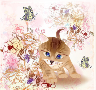 card with little tabby kitten ,flowers and