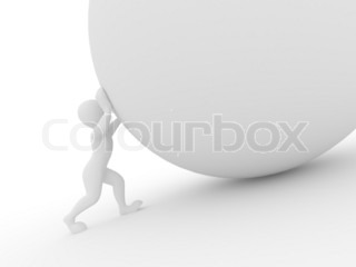 Men with sphere on white isolated background