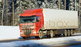 truck moving on winter road