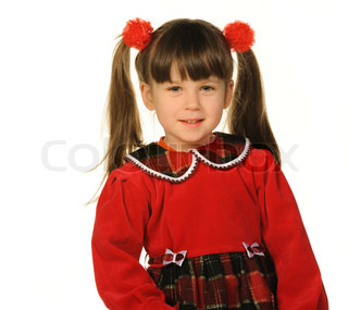 Portrait of the pretty little girl It is isolated on a white background
