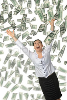 The woman and is a lot of money falling from above It is isolated on a white background
