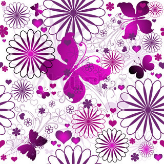 Seamless floral valentine pattern with flowers and butterflies and hearts