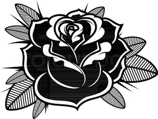 Line Art Rose Flower : Vector seamless floral pattern with rose flowers