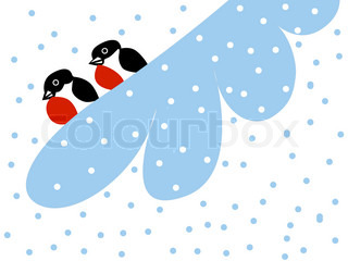 drawing two bullfinches on snow branch