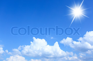 Blue sky and sun, may be used as background