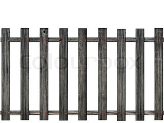 wooden fence over the white background