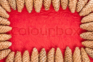 Christmas card Frame from cones on red paper background